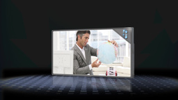 Montage of businessman looking at globe and couple Animation