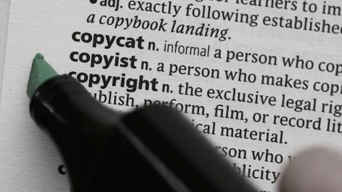 Copyright highlighted in green Footage