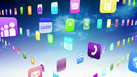 Interlocking application icons on blue sky background Animation