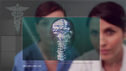 Doctor and nurse scrolling through medical clips Animation