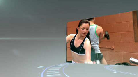 Montage of people working out at the gym Animation