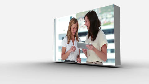 3d screens displaying business people at work Animation