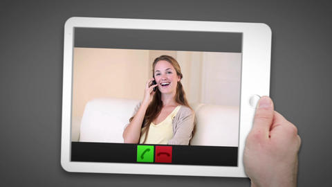 Hand using tablet pc to video chat Animation