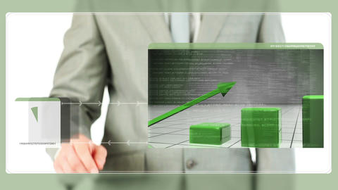 Businessman touching green graphic on screen Animation