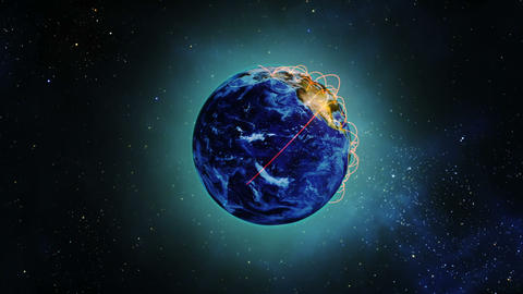 Globe earth rotating in space Animation