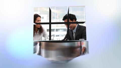 Cube with videos about business people inside Animation