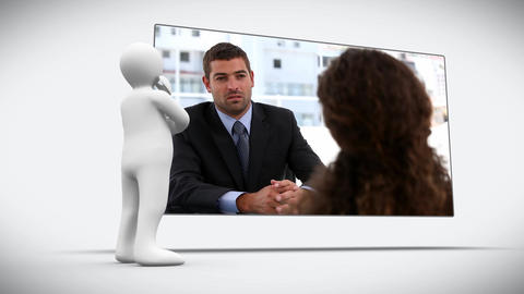 3D character looking at two speaking business people Animation
