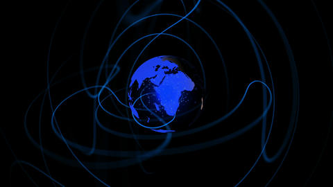 Blue earth spinning with lines emulating from it Animation