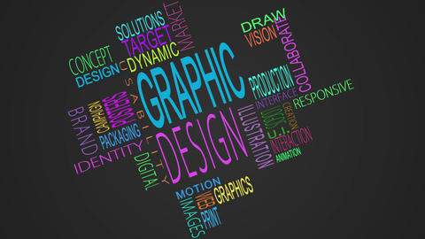 Graphic design buzzwords montage Animation