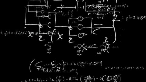 Maths equations appearing on chalkboard and zoomin Animation