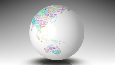Globe of welcome words spinning Stock Video Footage