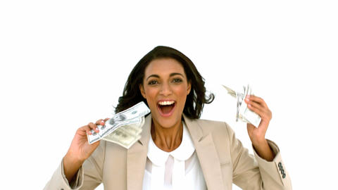 Cheerful businesswoman holding dollars and jumping Footage