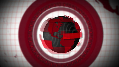 Red globe earth spinning with circles around Animation