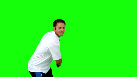 Attractive man playing tennis Footage