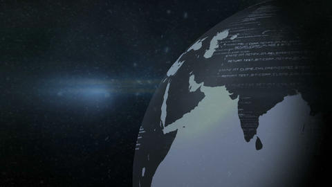 Grey earth in the dark with scrolling text CG動画