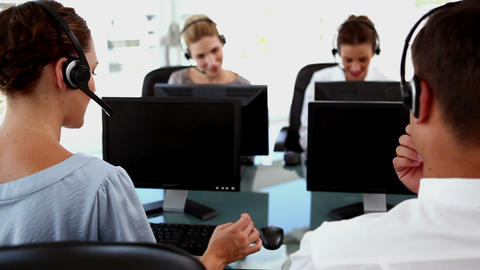 Business people in a business call centre Live Action