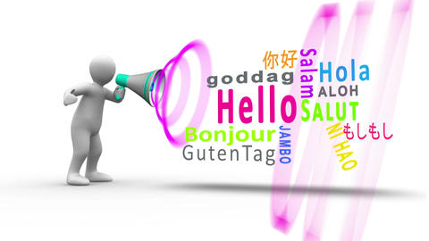 White figure yelling into a megaphone to reveal hello in different languages Animation