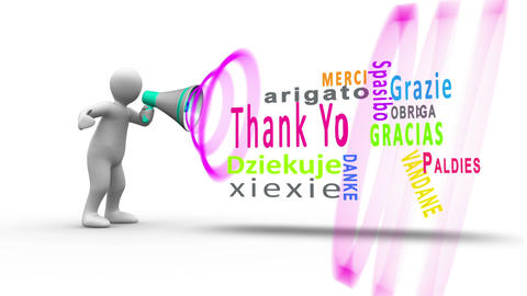 White figure yelling into a megaphone to reveal thank you in different languages Animation