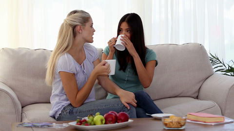 Attractive friends chatting over cups of coffee Footage