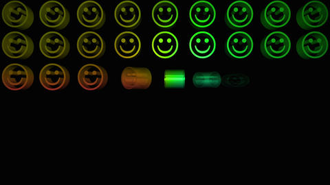 Colourful smiley faces appearing in a grid Animation