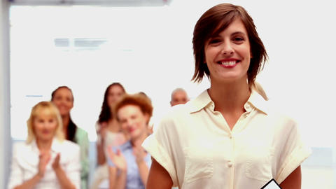 Buisnesswomen applauding colleague Footage