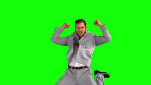 Businessman jumping and cheering Footage