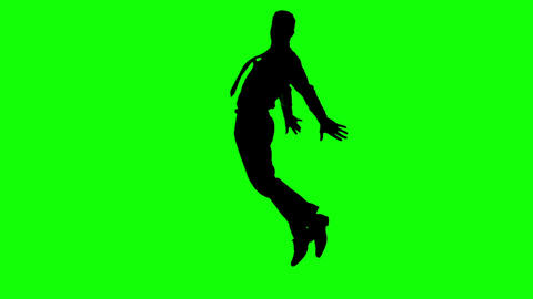 Silhouette of man with a tie jumping on green screen Live Action