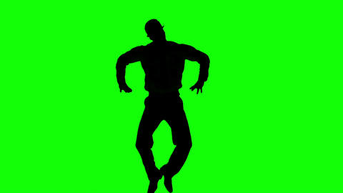 Silhouette Of A Man Jumping With Hands On Hips On  stock footage