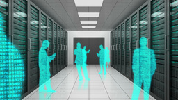 Animation of a trip through data center with silho Animation