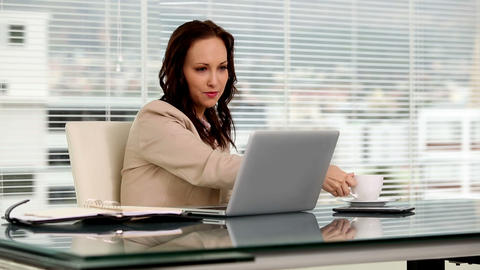 Businesswoman typing on her laptop Footage