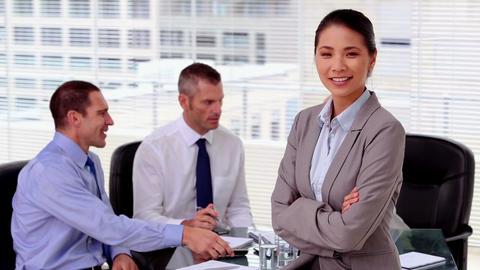 Smiling businesswoman posing Footage