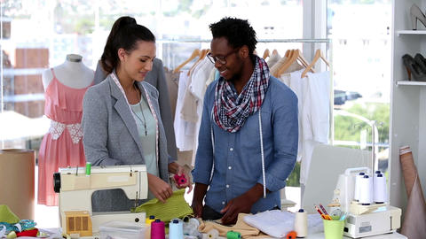 Fashion Designers Working With A Fabric stock footage