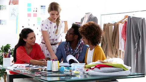 Young Fashion Designers Working Together stock footage