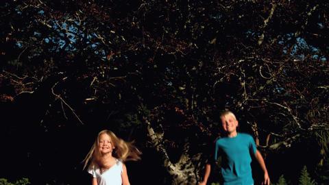 Happy siblings bouncing on a trampoline Footage