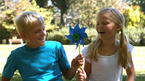 Siblings blowing a pinwheel together Footage