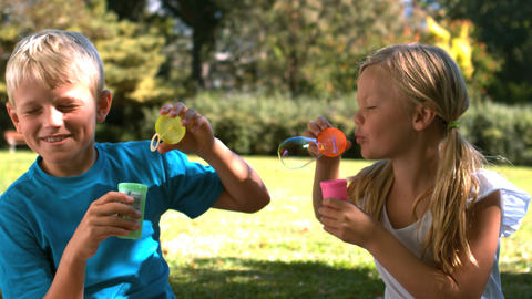 Cheerful siblings having fun together with bubbles Footage