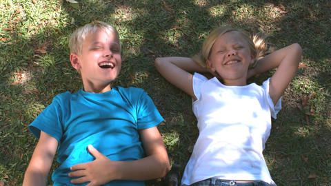 Cheerful siblings relaxing on the grass Footage