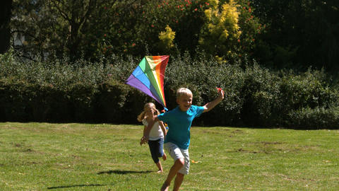 Siblings playing in a park with a kite Footage