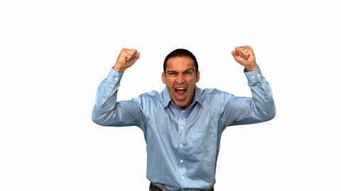 Angry businessman raising arms on white screen Live Action
