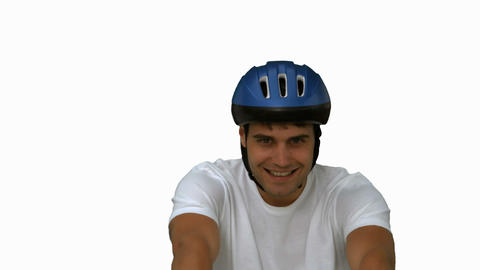 Man on his bicycle on white screen Footage