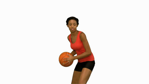 Woman catching and throwing a basketball on white screen Footage