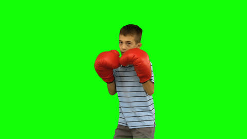 Little boy with boxing gloves boxing on green scre Footage