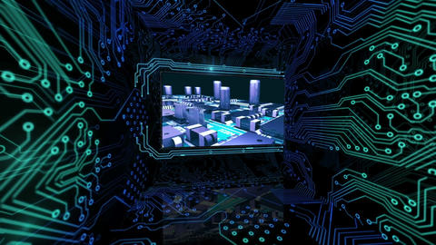 3D screens showing computing scenes with power button Animation