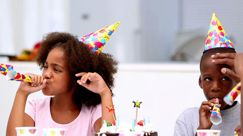 Family having fun at birthday party Footage