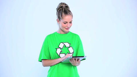 Thoughtful environmental activist using a digital tablet Footage