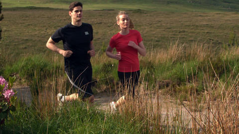 Athletic couple jogging on a country trail Footage