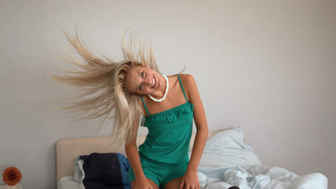 Attractive blonde shaking her hair Footage