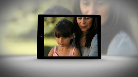 Tablet filming family in different locations Animation