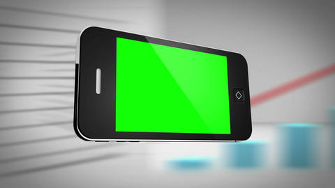 Smartphone with green screen in front of statistic Animation