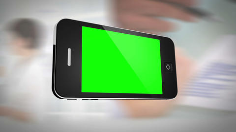 Smartphone with green screen in front of business  Animation